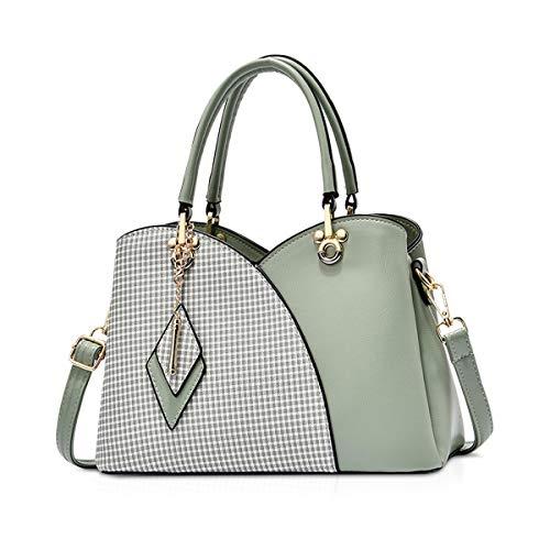 NICOLE & DORIS Elegante Damen Handtasche mit Mehreren Taschen Schultertaschen aus PU-Leder Henkeltaschen Karierte Umhängetasche mit Anhänger Grün