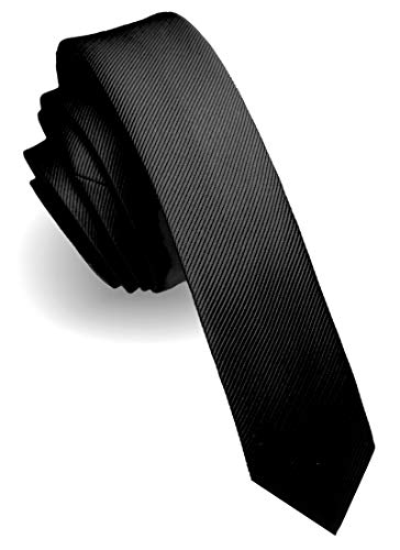 JEMYGINS schmale Herren Krawatte einfarbig in verschiedenen Farben 4cm, Schwarz, Slim