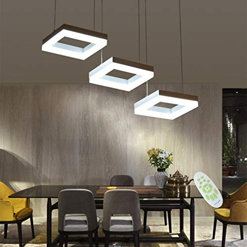 LED 35W Regulable Lámpara de Techo Comedor Colgante de luz con Control Remoto Moderno Cuadrado Diseño Candelabro Metal Aluminio Acrílico Sala Lámpara Colgante Restaurante Barra de Bar 3000K-6000K