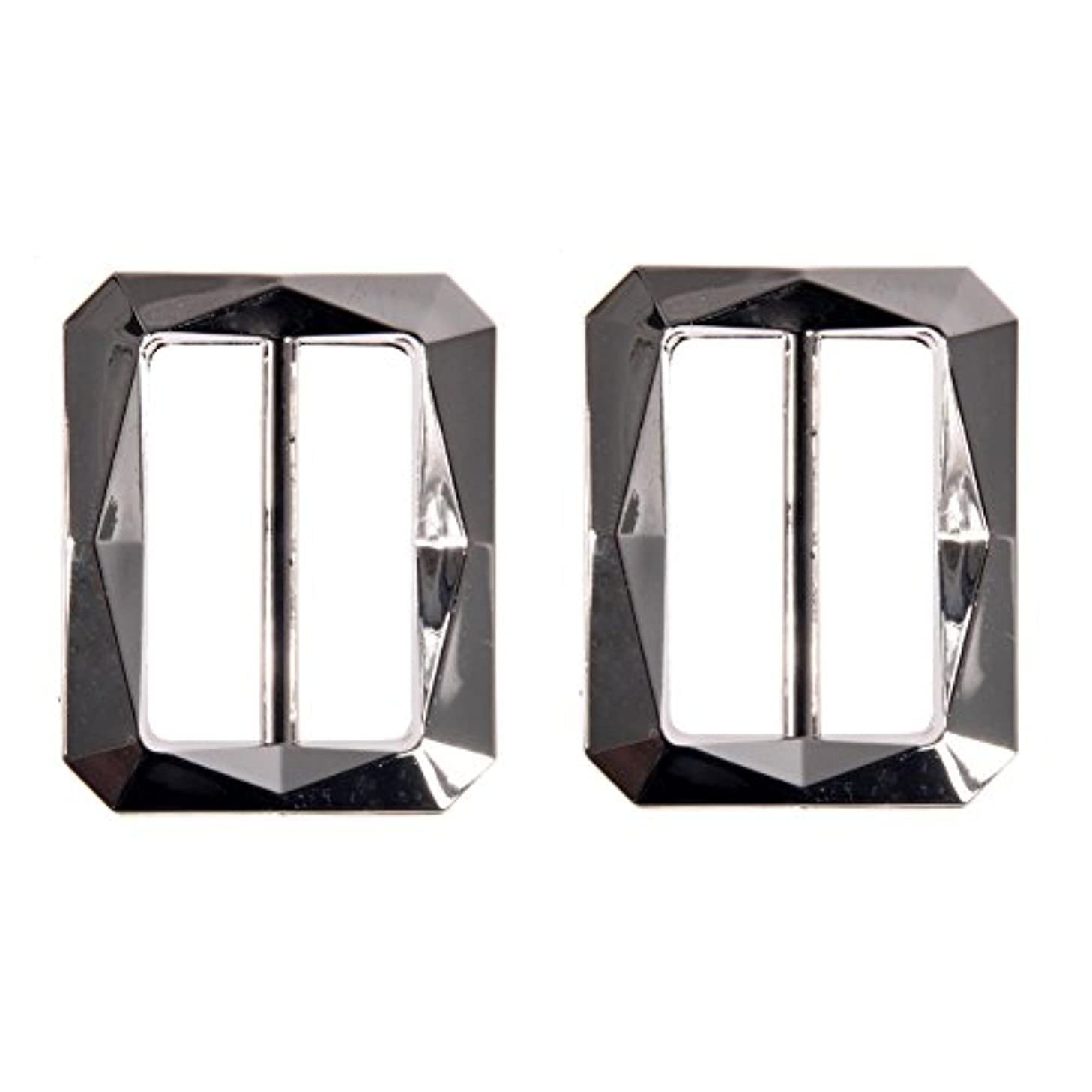 Mibo ABS Metal Plated Buckle Rectangular Faceted Diamond Cut Design 30mm Inside Bar Nikel 2 Pack