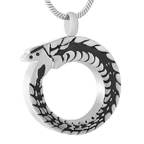 TIANZXS Collar de cremación de Serpiente de Acero Inoxidable 316l Colgante para Cenizas de Animales Recuerdo urna Conmemorativa para Mascotas joyeríaTono Plateado