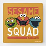 Dwi24isty Classic Wood Clock, Non Ticking Clock Sesame Street - Sesame Squad Square Wall Clock 15 Inch Decorative Clock for Kitchen Living Room