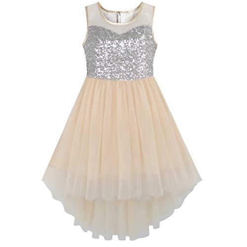 KB25 Girls Dress Beige Sequined Tulle Hi-lo Wedding Party Dress Size 14