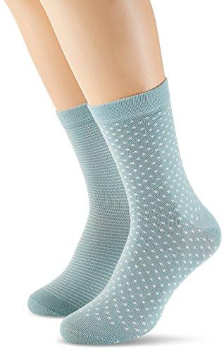 Schiesser Damen Damensocken (2PACK) Socken, Grün (Mint 708), 35/38 (Herstellergröße: 400) (2er Pack)