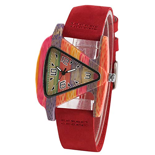 MOLINB Hölzerne Uhr Einzigartige Dreieck Frauen Holz Uhr Kreative Bunte Dame Grün/Rot Echtes Leder Armbanduhr Elegante Damenuhren, Multicolor