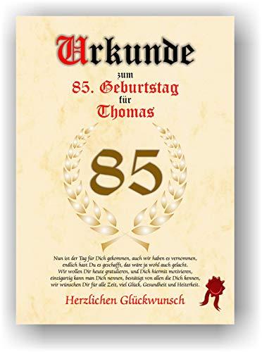 Urkunde zum 85. Geburtstag - Glückwunsch Geschenkurkunde personalisiertes Geschenk Gedicht Grußkarte Geschenkidee mit Spruch DIN A4