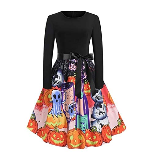 RISTHY Vestidos Midi de Una Línea de Fiesta Informal de Halloween Vintage...