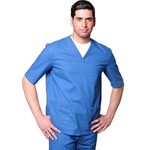 Completo divisa ospedaliera lavoro infermiere sanitario clinica bianco azzurro (XL, AZZURRO)