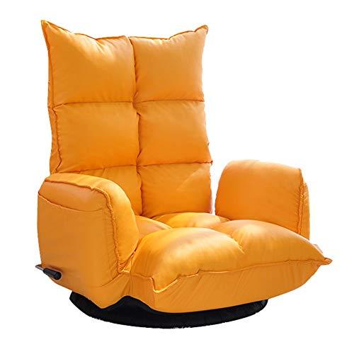 Sofá Perezoso Silla De Piso, Silla reclinable de Estilo japonés con sofá Giratorio, Perezoso, Giratorio y Giratorio de 360 Grados (Color : Orange)