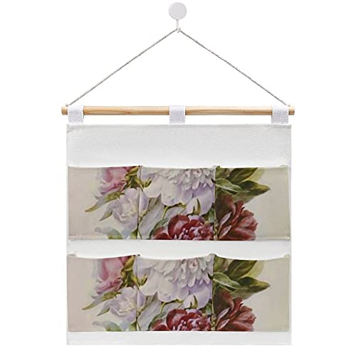 Un ramo de flores de peonía por Pierre Redoute bolsa de almacenamiento de algodón y lino de tela para colgar en la pared, organizador para colgar 6 bolsillos