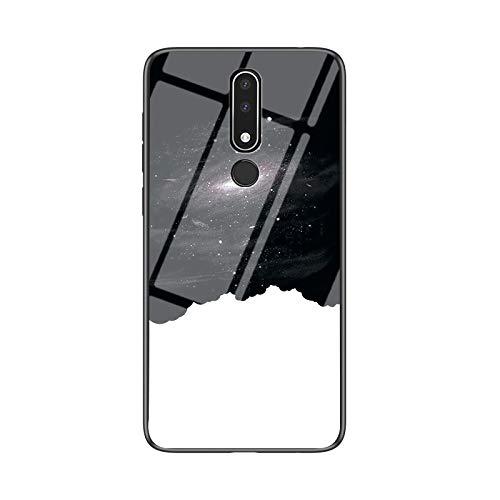 SHIEID Carcasa para Nokia 3.1 Plus,Mármol Vidrio Templado de Case Cover Ultra Fina Silicona Gel Caja Carcasa Antideslizante de Carcasa Blanda para Nokia 3.1 Plus (Cielo Estrellado cósmico)
