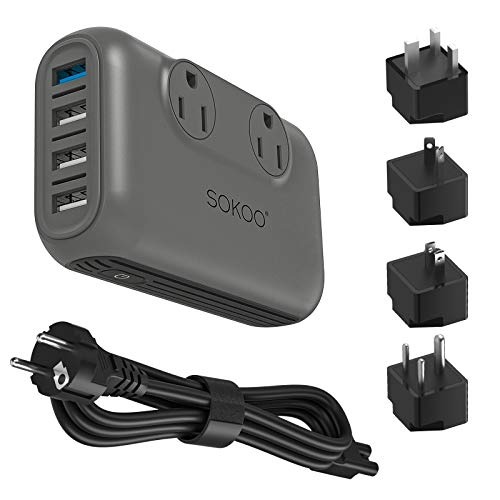 Sokoo Voltage Converter Step Down 220V to 110V, International Travel Adapter/ Power Converter Use for EU/UK/AU/US/India, More Than 150 Countries. 2 Outlet, 4 Port USB Quick Charger 3.0 Grey