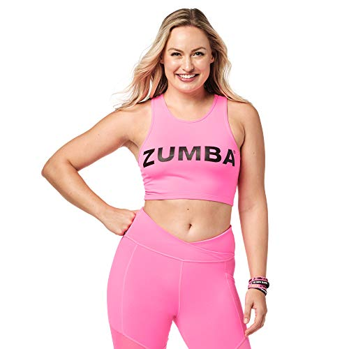 Zumba Cropped Top Fitness Workout Graphic Print Recortada Camisetas Tirantes Mujer de Entrenamiento Tank Tops, Bright Pink, X-Small Womens