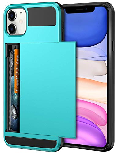 Vofolen Case for iPhone 11 Case Wallet Credit Card Holder ID Slot Sliding Door Hidden Pocket Anti-Scratch Dual Layer Hybrid Bumper Armor Protective Hard Shell Back Cover for iPhone 11 6.1 Sky Blue