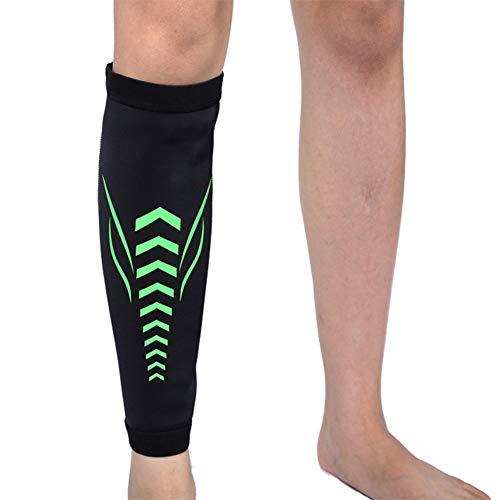 Feng Reflektierende Kniebandage bei Nacht, Outdoor Stretch Atmungsaktiv Silikon Anti-Rutsch-Sport-Knieschoner, geeignet für Radfahren, Laufen und Klettern L grün