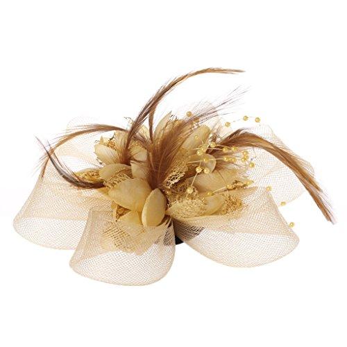 Lunji Bibi Mesh, Fascinator Mini Chapeau Femme Mariage Accessoires pour Cheveux (Beige)