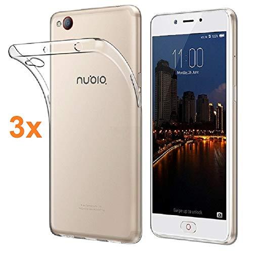 REY Pack 3X Transparente Silikonhülle TPU für ZTE Nubia N2, Handyhülle Premium Kratzfest TPU Durchsichtige Schutzhülle, Superdünne 0,33 mm