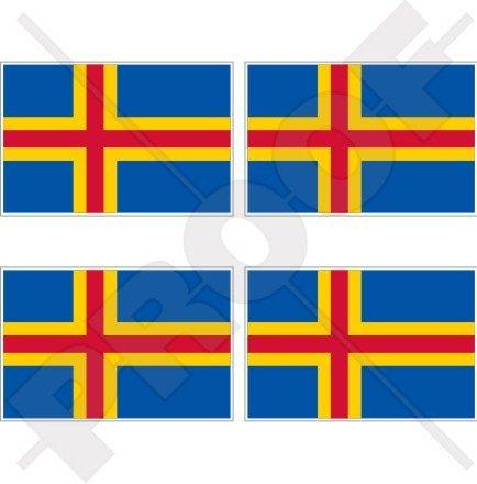 Îles Aland drapeau Finlande ahvenanmaa finlandais 5,1 cm (50 mm) bumper-helmet en vinyle autocollants, Stickers x4