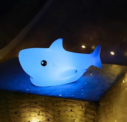 Dibujos Animados Creativos Tiburón LED Coloridos Niños Noche Luz Táctil Sensor USB Recargable Decoración