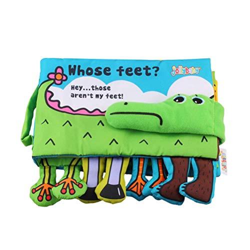 YeahiBaby Baby Stoffbuch Krokodil Füße Bilderbuch Spielbuch Stoffspielzeug für Baby Kleinkind Säugling