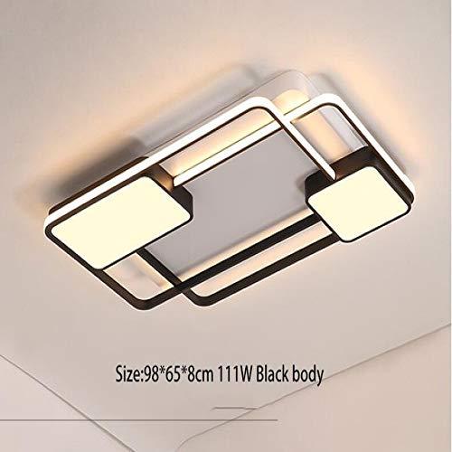 BFMBCHDJ Moderna sala de estar Led Lámpara de dormitorio Lámpara de techo Lámpara de araña Iluminación Lámpara moderna Natural blanco Negro 98x65x6cm