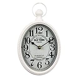 White 12 Inch Wall Clock European Retro Design Oval-Shaped Old-Fashioned Wall Clock Retro Craftsmanship Wall Clock Suitable for Public Areas in Living Room Kitchen Office Space Wall Clock