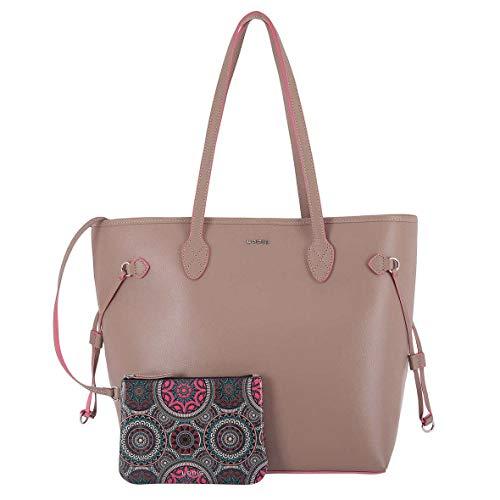 Lodis Bliss Leather Shoulder Tote Bag with Wristlet, 2-Piece Set (Beige)