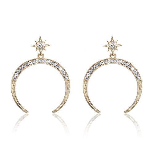 SSEHX Pendientes Nuevo Cristal de Color Oro Pendientes de la Luna para Las Mujeres joyería de Moda Estrella Stud Pendientes exagerada Regalo Fiesta de la Boda