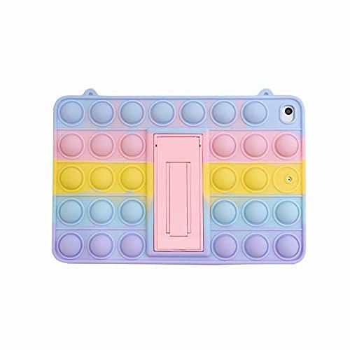 Relive Stress Pop Fidget Juguetes Push It Bubble Niños Funda de silicona para iPad 9.7 iPad 10.2 pulgadas Air3 10.5 pro 11 mini 5 Tablet caso (Rainbow, Samsung T500/505/507 10.4 pulgadas)