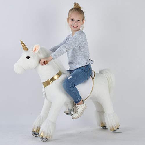 Ufree Ride on Unicorn Toy, Walking Unicorn Mechanical Pony, Soft Plush Fur Unicorn Toy with Golden Horn, Unicorn Rocking Horse Gift for 4-9 Years Old Girls