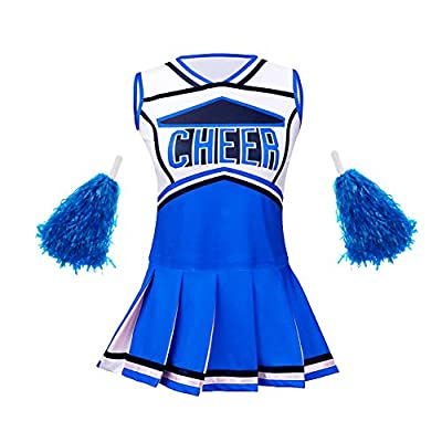 yolsun Cheerleader Costume for Girls Halloween Cute Uniform Outfit (140 (8-9y), Blue)