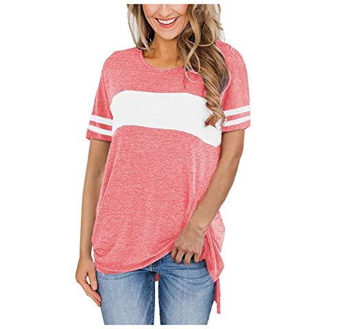 Wsgyj52hua 2021 Primavera Y Verano Nueva Camiseta Dividida De Manga Corta con Cuello Redondo De Color SóLido Europeo Y Americano
