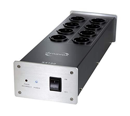 Dynavox HiFi-Netzfilter X4100S, Mehrfach-Steckdose mit 8 Steckplätzen, mit LED-Kontrollleuchte für korrekte Phasenlage, Silber