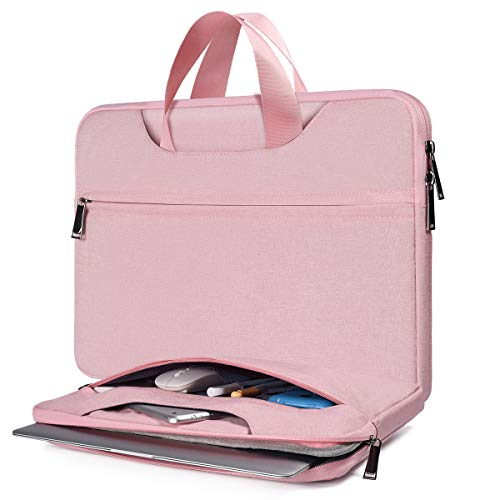 15.6 Inch Laptop Sleeve Briefcase for Women Ladies Bag for Dell Inspiron 15 5584, HP Envy 15.6/Spectre x360 15.6, Acer Aspire 5 A515/E15, Lenovo Yoga 730 15.6, Surface Book 2 15, ASUS MSI Case, Pink