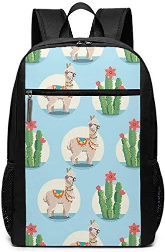 Borsa da viaggio per computer portatile con piante di alpaca e cactus, leggera Bookbag per computer aziendali e piante di cactus