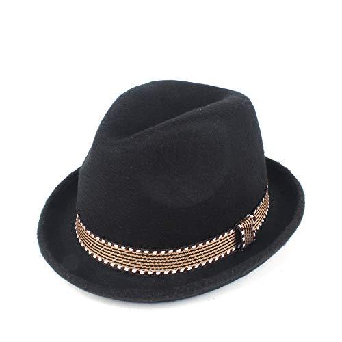YUANBO WU Gentleman Cap Topper Sombrero de Copa Sombrero de ala Jazz Atractiva Mujer de Piel Sombrero Inteligente (Color : Negro, Size : 56-58)