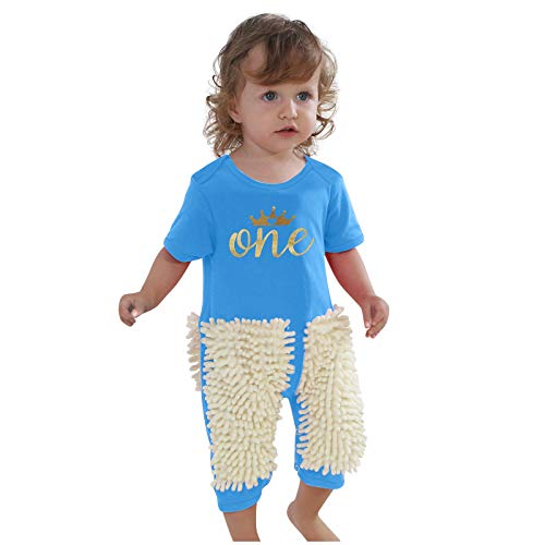 Eternali Baby Crawling Mop Romper Toddler Newborn Boys Girls Crawling Jumpsuit Polishes Floors Cleaning Mop Footie Suits Infant Crawling Playsuit Autumn Winter Kids Swob Jumpsuit Creative Baby Gift