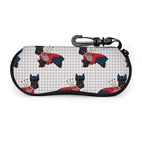 AOOEDM Glasses Case - Scottie Dog with Bagpipes - Fits Most Glasses and Sunglasses Case
