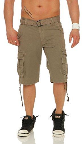 Mississhop 186 Herren Cargo Shorts Kurze Cuba Bermuda Hose Sporthose mit vielen Taschen und Gürtel Beige 32