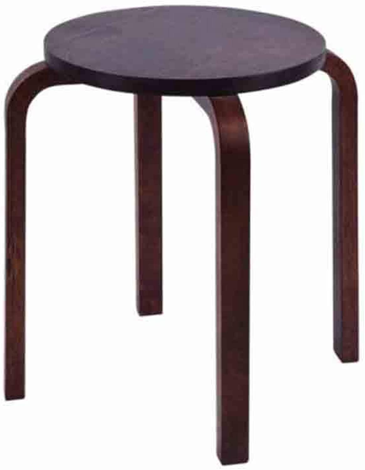 YCSD Solid Wood Stool, Household Stackable Dining Table Stool, Simple Small Bench, Environmentally Friendly Water-Based Paint (color   Coffee color)