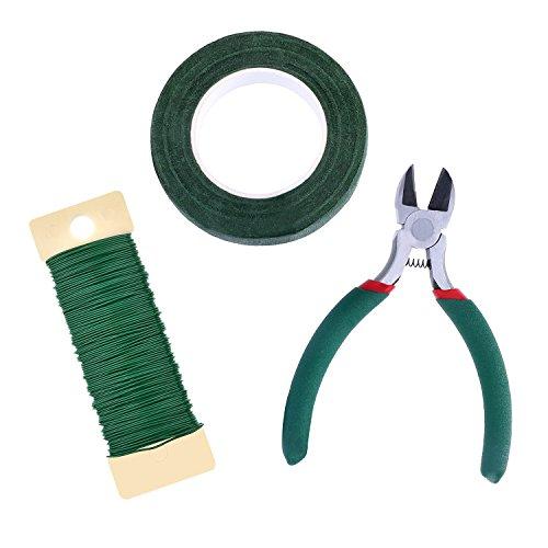 Kit Strumento Floreale Nastro Adesivo Floreali Avvolgere 1/2 Pollici per 30 Yard, 22 Gauge Verde Pagaia Filo e 4 1/2 Pollici Tagliatore del Filo