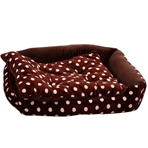 WXYPP Cama de Perro Cuadrada clásica Franela cómoda Cajas o perreras Marrones Aliviar La Ansiedad (Size : 80cm)