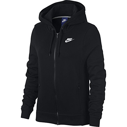 NIKE Sportswear Women's Full Zip Hoodie, Black/Black/Black/White, X-Small