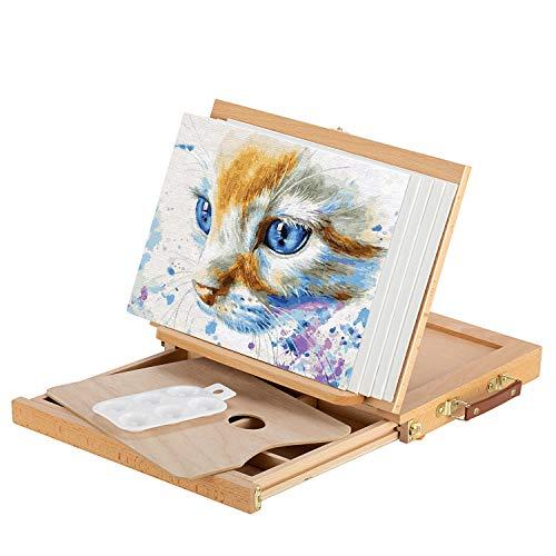 Magicfly Cavalletto da Tavolo con Cassetta, Cavalletto per Pittura Portabile con 5 Tele e 1 Tavolozza in Plastica