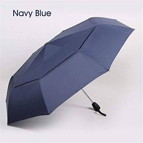 NJSDDB paraplu windbestendige dubbele laag paraplu regen vrouwen automatische 3 vouwen paraplu waterdichte outdoor business mannen groothandel paraplu, Blauw