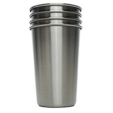 Ziggy V Stainless Steel Cups, 16oz Tumbler Pint Glasses,18/8 Metal Cups BPA Free Cups Set of Four (4)