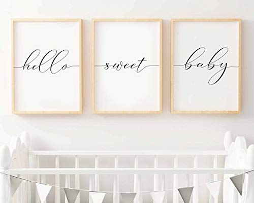 Lot de 3 impressions murales Hello Sweet Baby pour chambre d'enfant