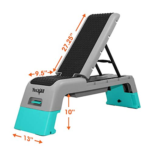 Yes4All Multifunctional Fitness Aerobic Step Platform/Aerobic Deck, Household Step Workout Bench for Home Gym (Blue/Grey)