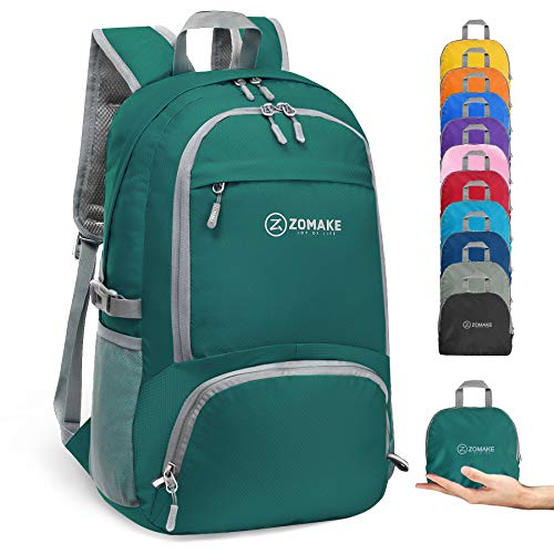ZOMAKE 30L Ligera Mochila Plegable de Senderismo Excursión Deportes, Mochilas Pequeña Impermeable para Mujer Hombre Viaje(Verde Oscuro)