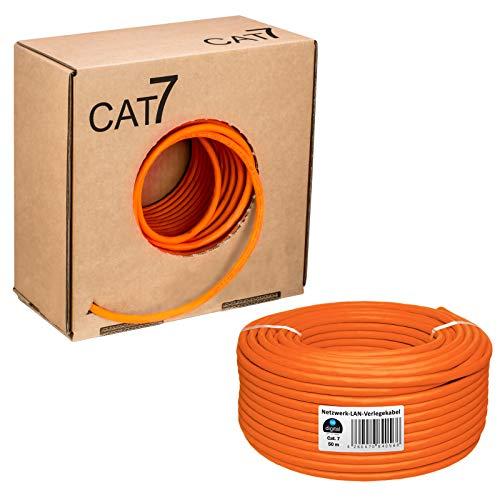 HB Digital Basic - Cavo di rete LAN di categoria 7 professionale S/FTP PIMF LSZH, senza alogeni, RoHS-Compliant, cat. 7 Cat7 AWG 23/1 50 m Colore: arancione.